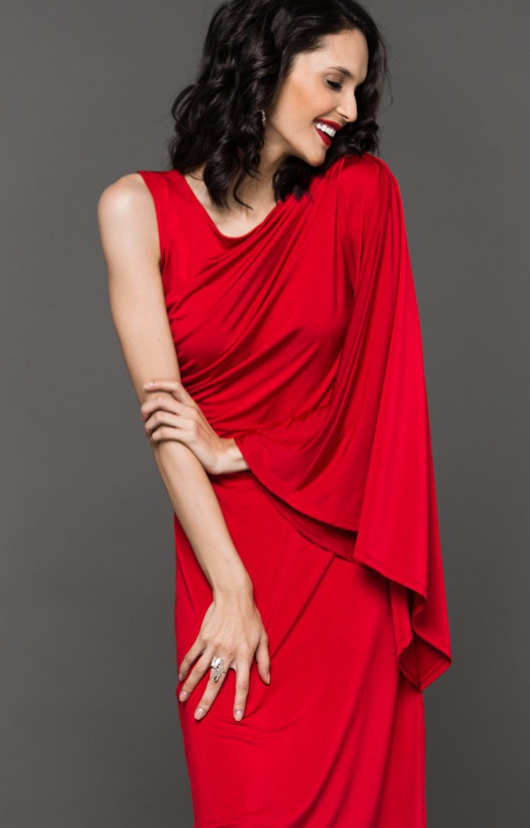 NYE ASSYMETRICAL DRESS - RED