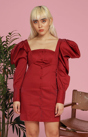 Maria Dress in Maroon