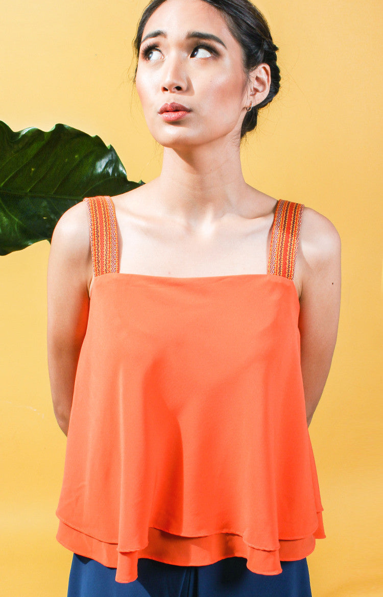 Layered  Flounce Top -Orange
