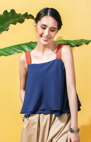Layered  Flounce Top -Navy