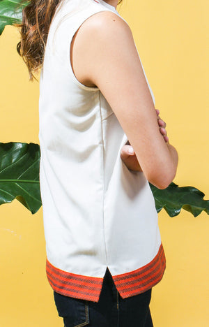 Sleeveless  Tunic -White