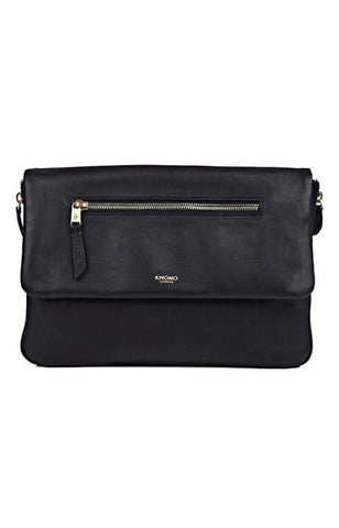 Knomo Elektronista Digital Leather Clutch Bag With Chain Strap & Powerbank - Black