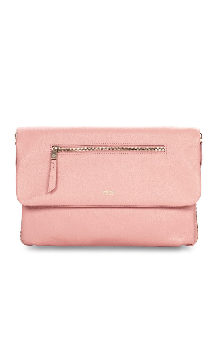 Knomo Elektronista Digital Leather Clutch Bag With Chain Strap & Powerbank - Blush