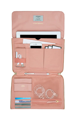 Elektronista Digital Leather Clutch Bag With Chain Strap & Powerbank - Blush