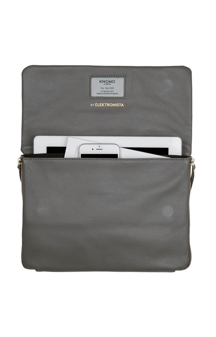 Knomo Elektronista Digital Leather Clutch Bag With Chain Strap & Powerbank - Gray