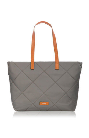 Knomo Porchester Large Zip Shoulder Laptop Tote 15 - Grey/Tan