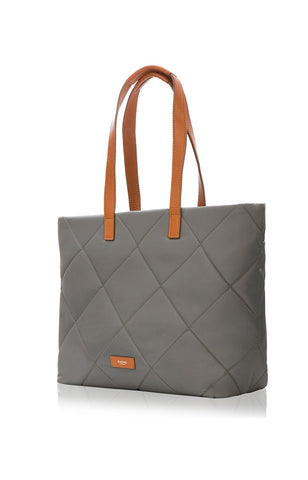 Porchester Large Zip Shoulder Laptop Tote 15 - Grey/Tan