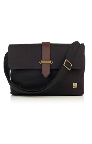 Knomo Troon Canvas Messenger Bag - Black
