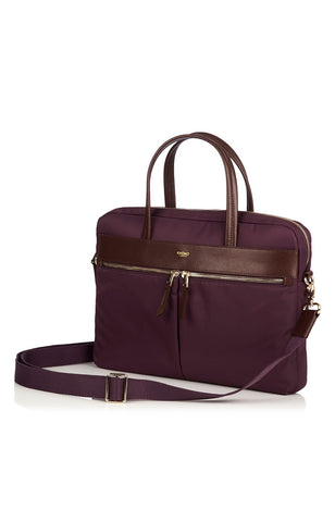 Knomo Hanover Slim Briefcase With Shoulder Strap 14 - Aubergine
