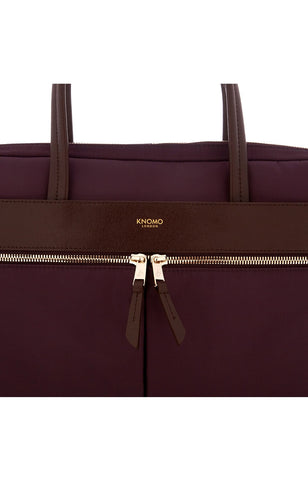 Hanover Slim Briefcase With Shoulder Strap 14 - Aubergine