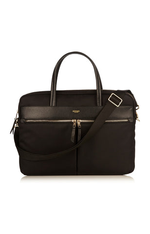 Knomo Hanover Slim Briefcase With Shoulder Strap 14 - Black