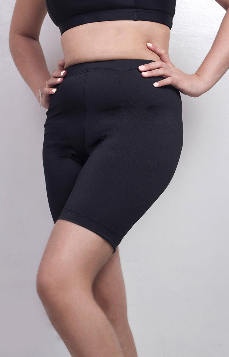 "Womanly Ladies Compression Shorts 7"" Black"