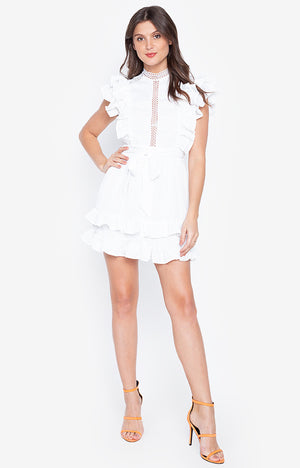 Elegant O-Neck Lace Patch Work Ruffle Ladies White Dress