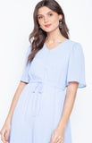Flare Sleeve Electric Waist Solid Color Office Lady Sky Blue