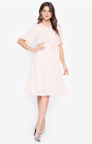 Flare Sleeve Electric Waist Solid Color Office Lady Peach