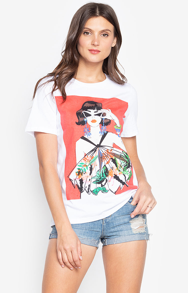 Lady casual summer printed t shirt