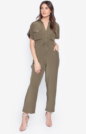 V Neck Short Sleeve Lace Up Waist Fashion Cargo Jumpsuit Army Green