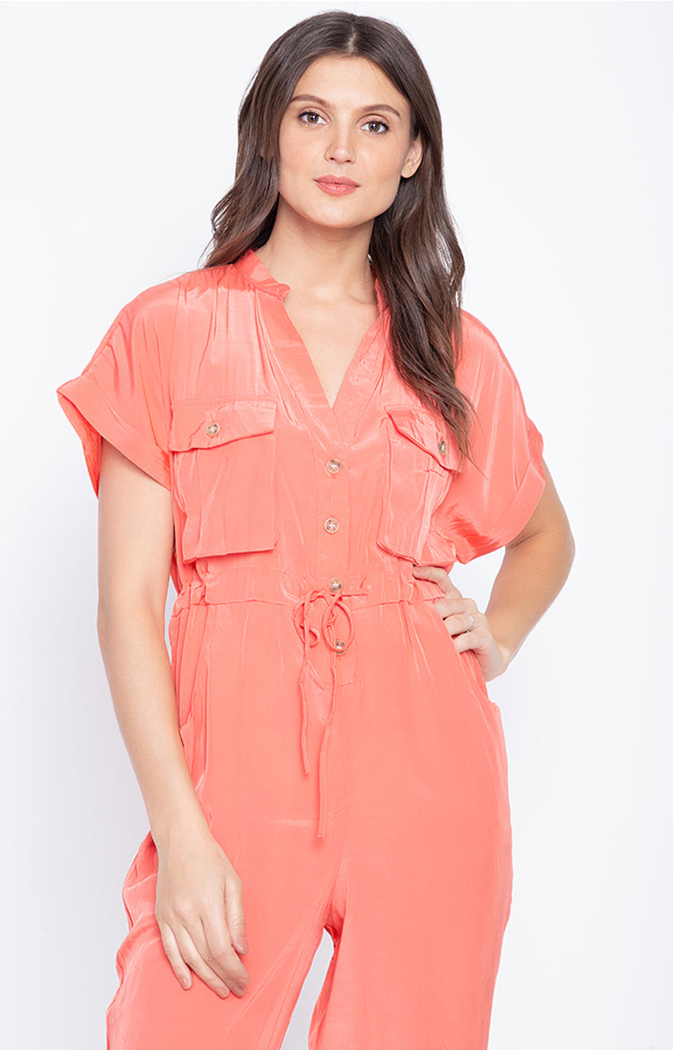 V Neck Short Sleeve Lace Up Waist Fashion Cargo Jumpsuit Orange