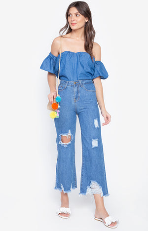 Silma Ripped Jeans Wide Leg