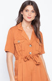 Basic Turn Down Collar Short Sleeve Jumpsuit Cargo Fashion Playsuit Metallic Brown