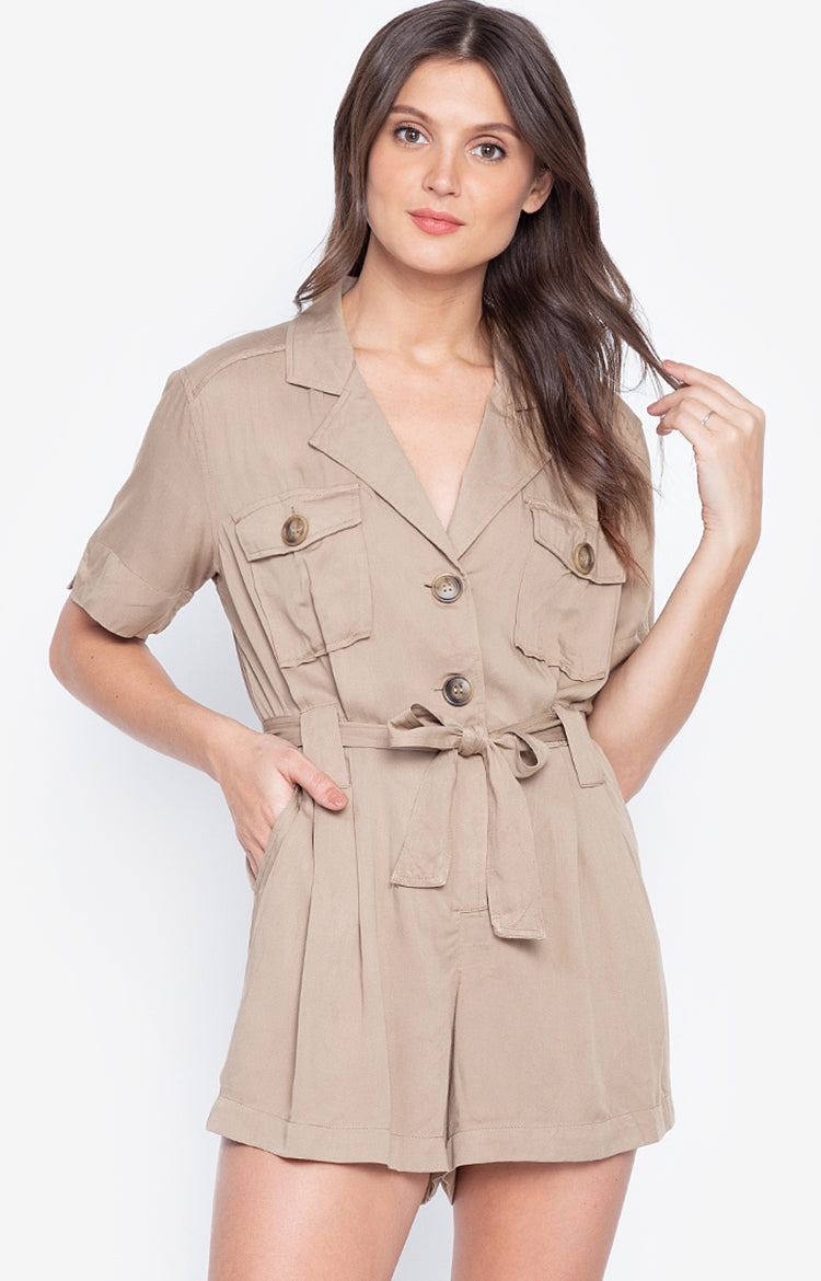 Basic Turn Down Collar Short Sleeve Jumpsuit Cargo Fashion Playsuit Wood