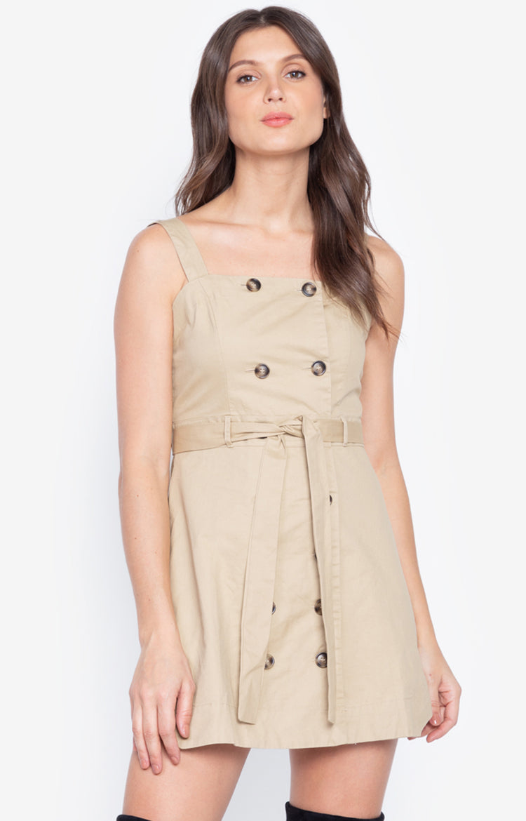 Fashion Design Button Up Summer Casual Cotton Dress Khaki