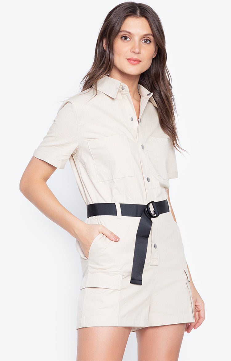 Turn Down Collar Short Sleeve Solid Fashion Cargo Jumpsuit