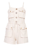 Korean Style Spaghetti Strap Summer Sexy Jumpsuit Romper High Streetwear Off- White