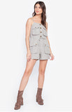 Korean Style Spaghetti Strap Summer Sexy Jumpsuit Romper High Streetwear Army Green