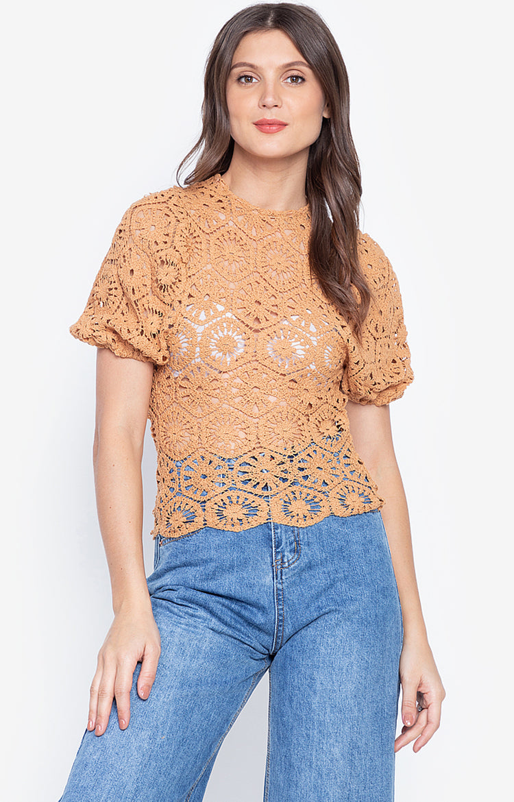 Korean Style Puff Sleeve Brown Color Hollow Out Top