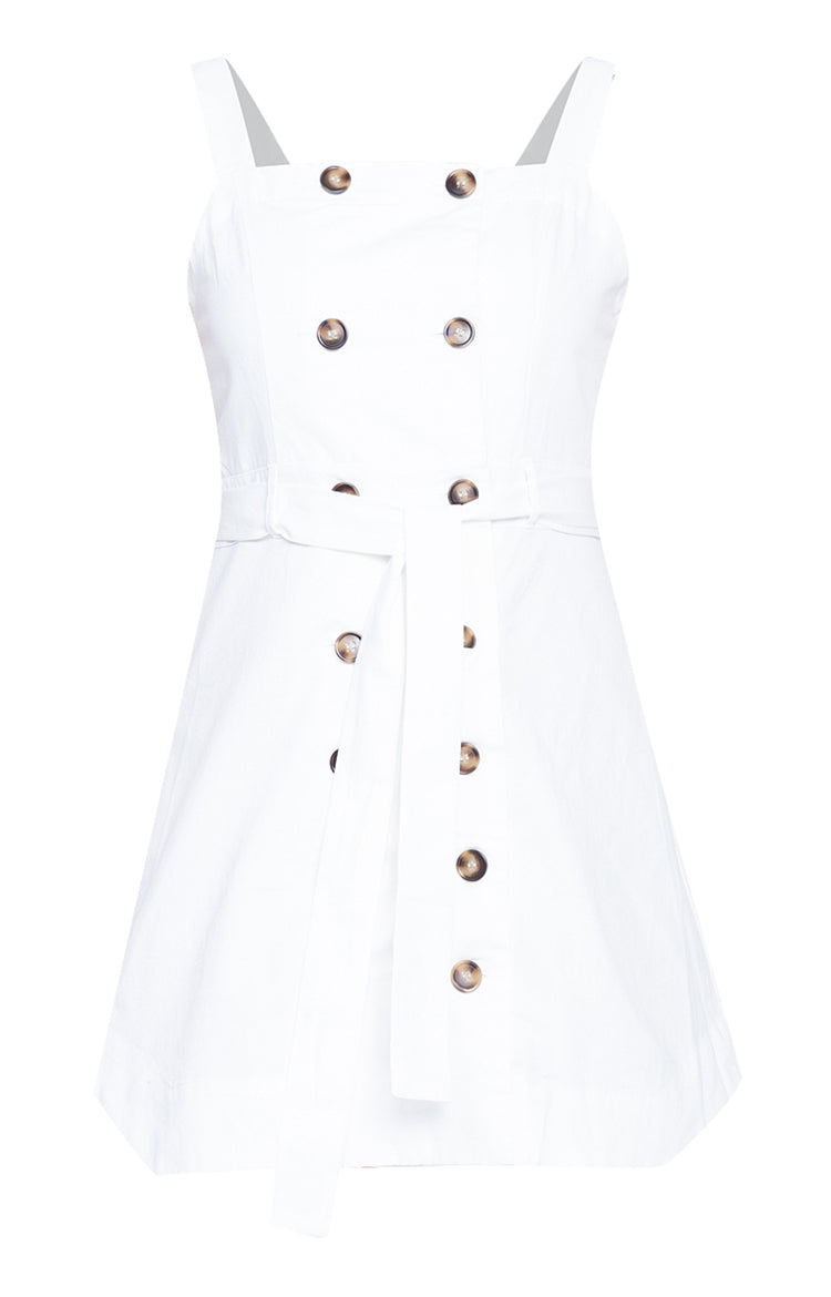 Fashion Design Button Up Summer Casual Cotton Dress White