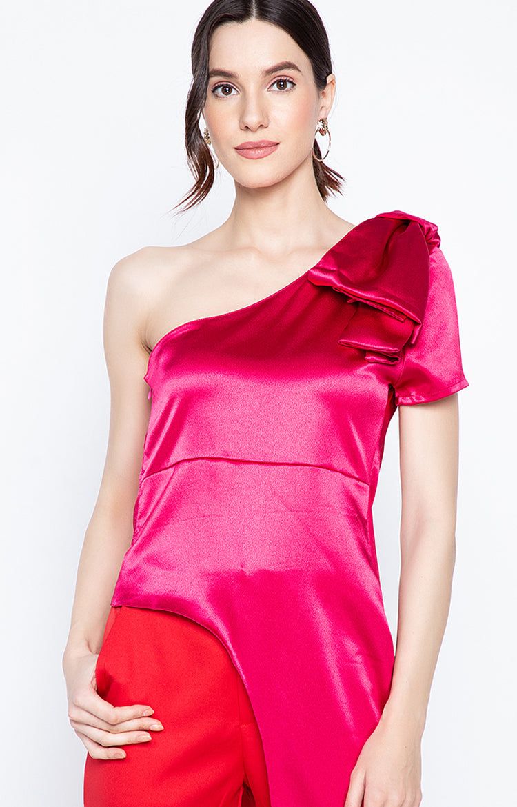 Reena One Sided One Shoulder top with bow