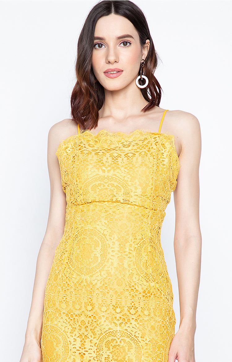 Jona Backless Lace Party Dress Yellow