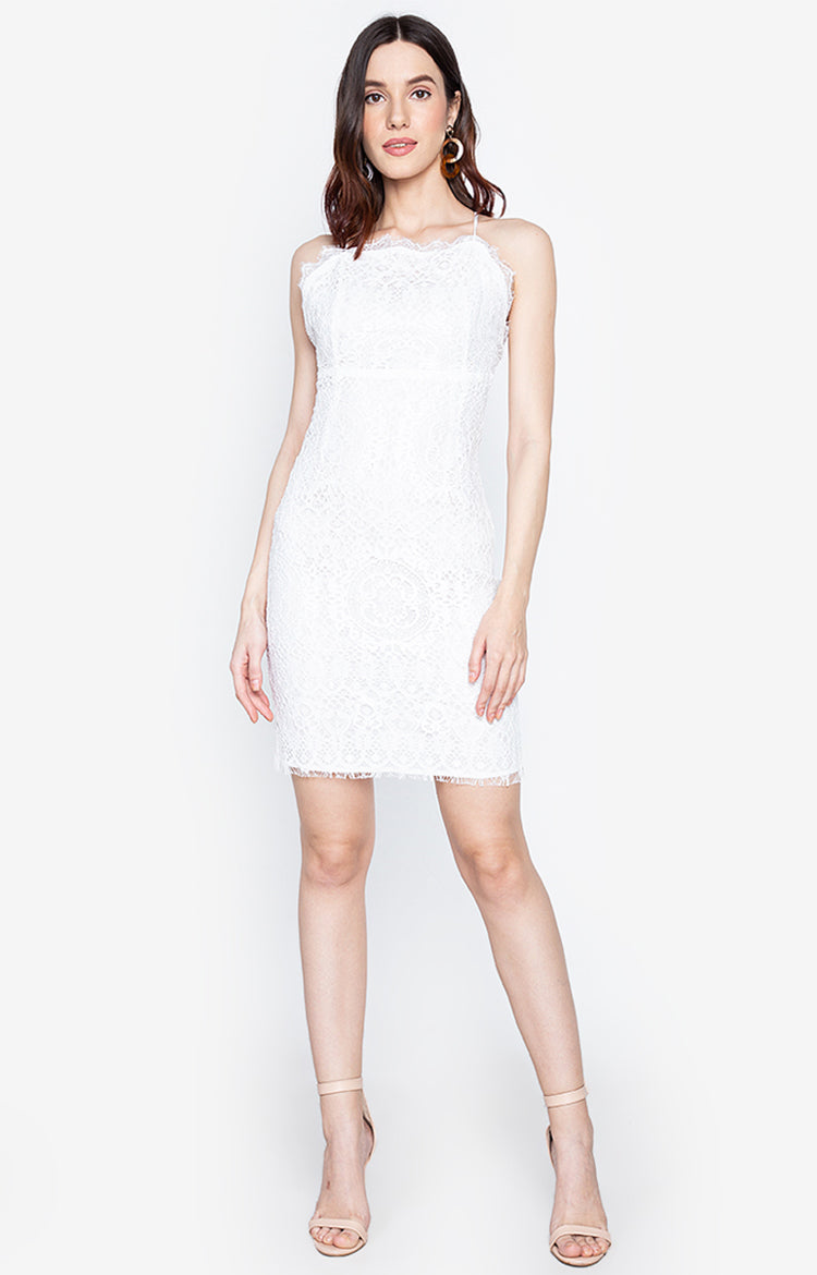 Jona Backless Lace Party Dress White