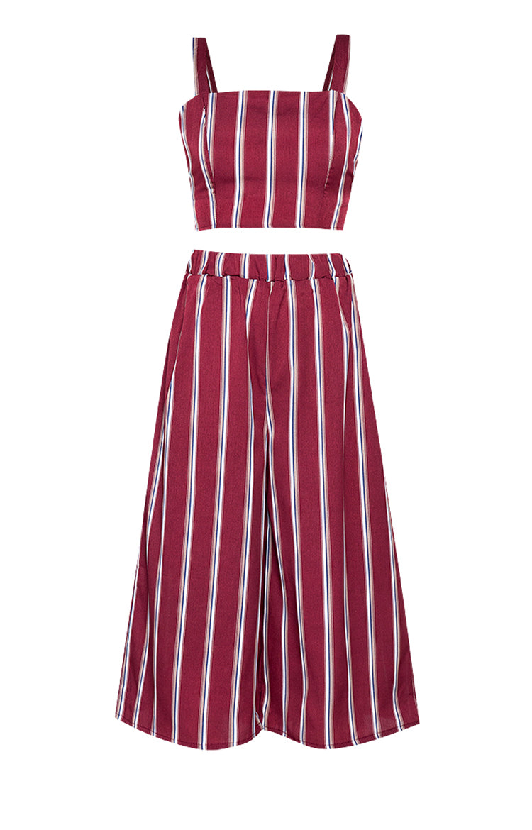 Samantha Stripes Crop Top & Wide Leg Pants
