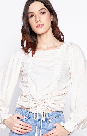 Savy slash neck off shoulder casual lace up top