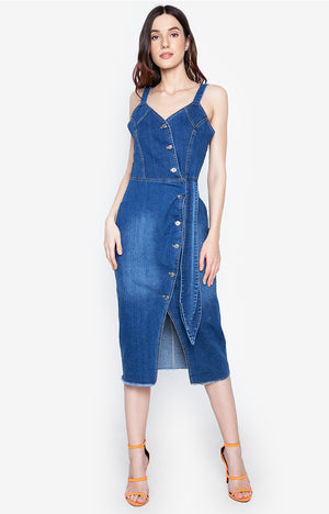 Danica Button up bodycon summer jeans dress