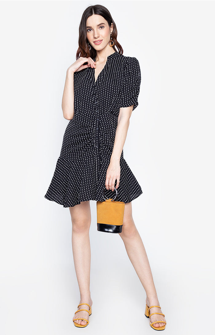 Silva Ruffle Hem half polka dot dress