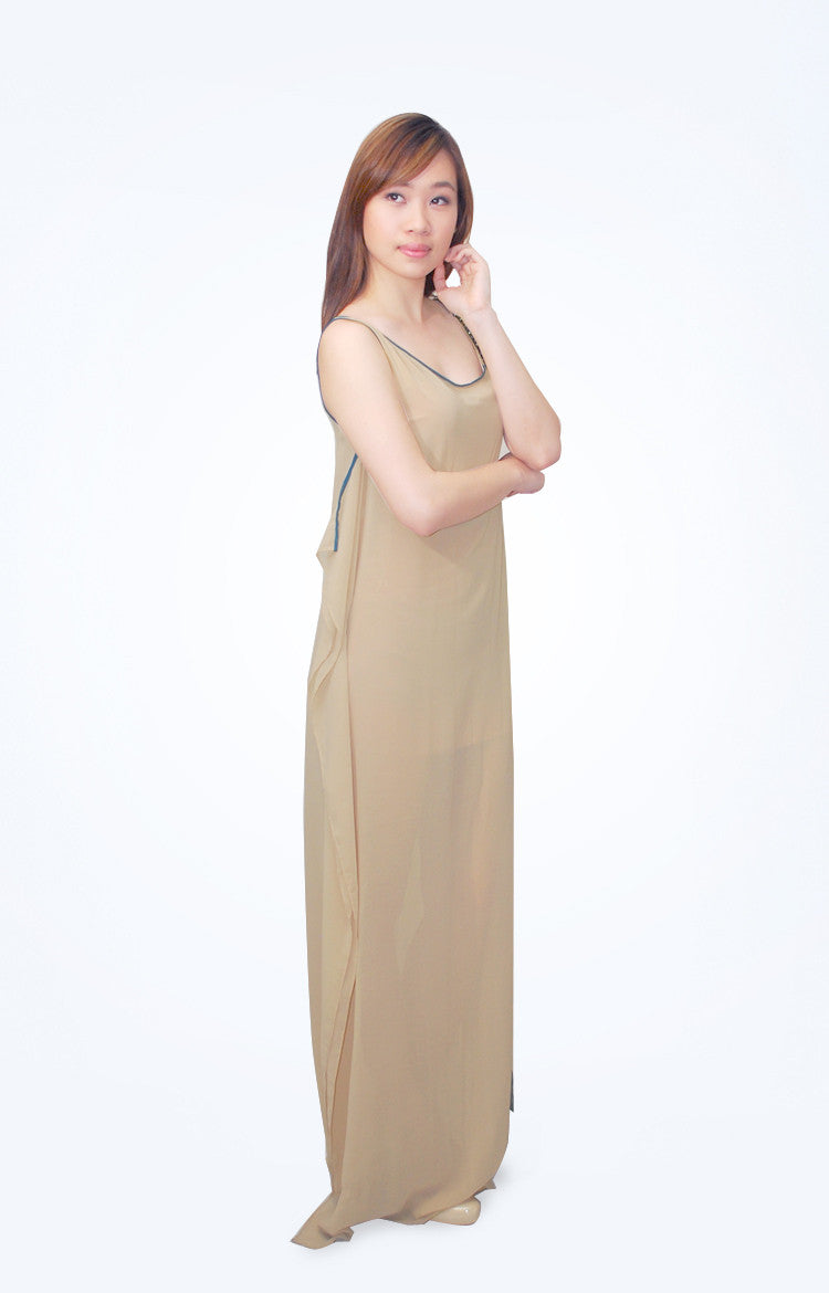 Mia Arcenas Nude Asymmetric Dress