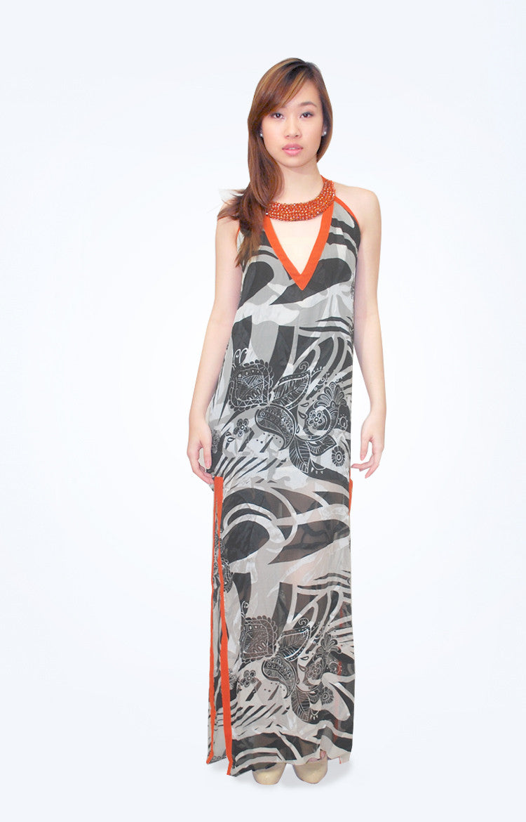 Mia Arcenas Printed Halter Dress