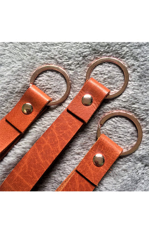Basic Tan Key Holder in Rosegold