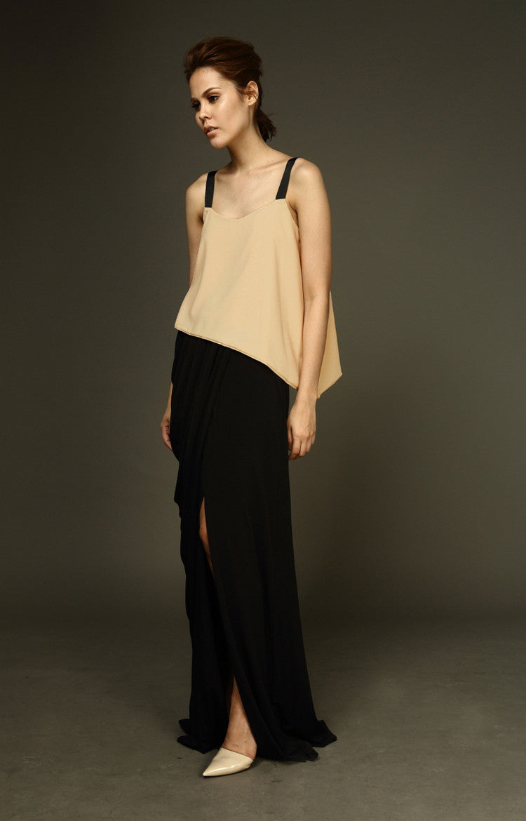 Draped Maxi Skirt With Slit - Black