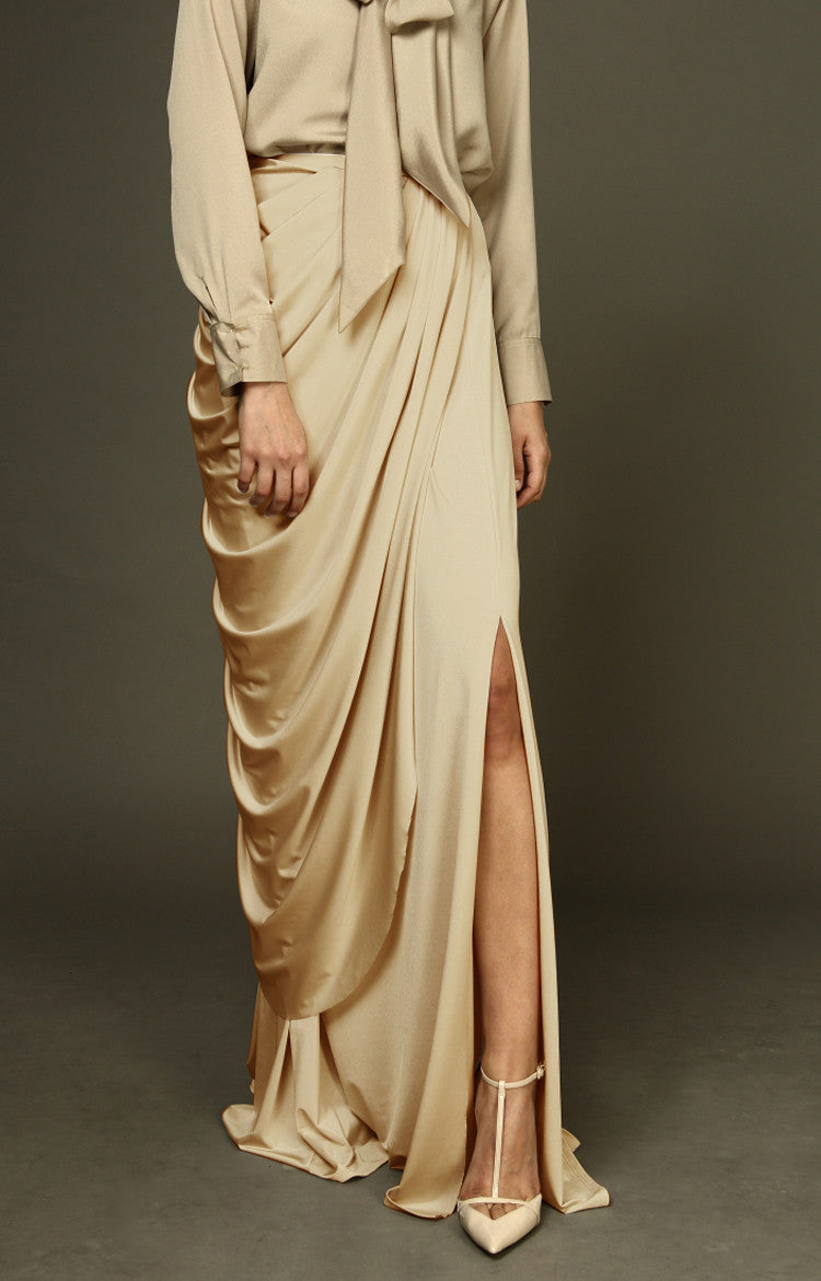 Draped Maxi Skirt With Slit - Nude