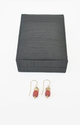 Gold Plated Silver T-bead and Coral Drop Earring