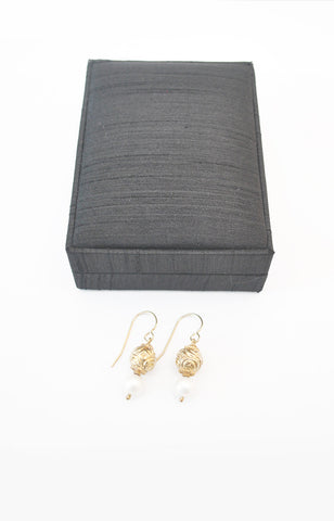 Gold Plated Silver Granada Bead + Pearl Earring