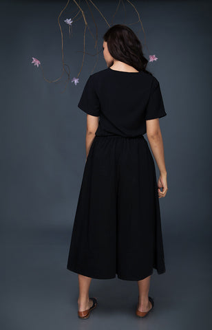 Pleated Culottes-Black