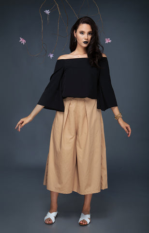 Pleated Culottes-Mocha
