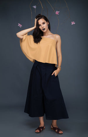 Pleated Culottes-Navy Blue