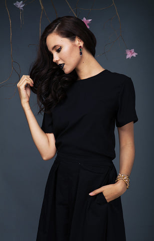 Short Sleeved Top-Black