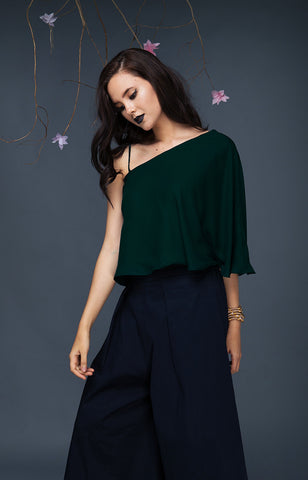 Asymetric Flounce Top-Evergreen